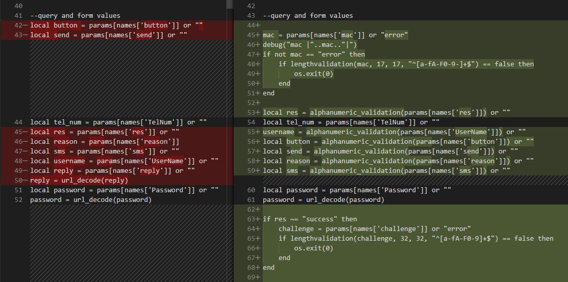 Generic diff of a Lua script.