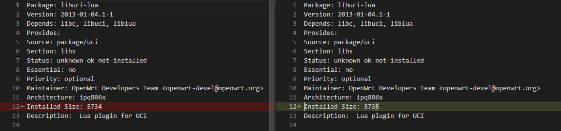 Barely any difference between two opkg control files.
