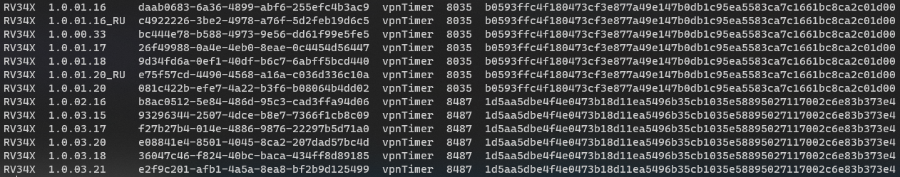 vpnTimer hashes over time.