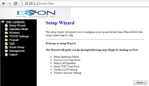 Realtek SDK web interface on ESSON